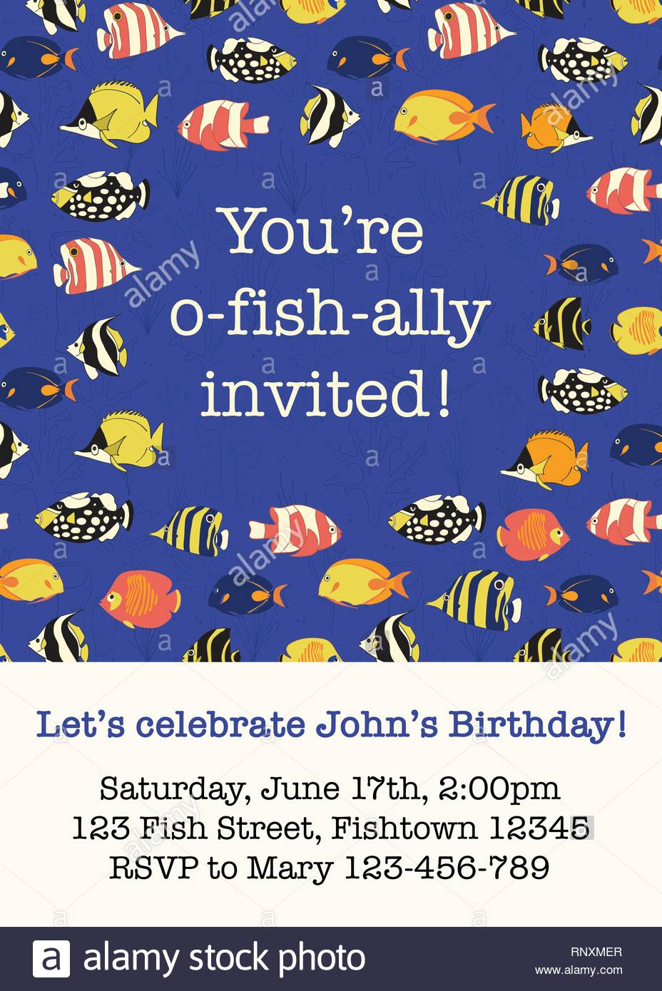 Colorful Fish Party Invitation Card Template Vector Illustration