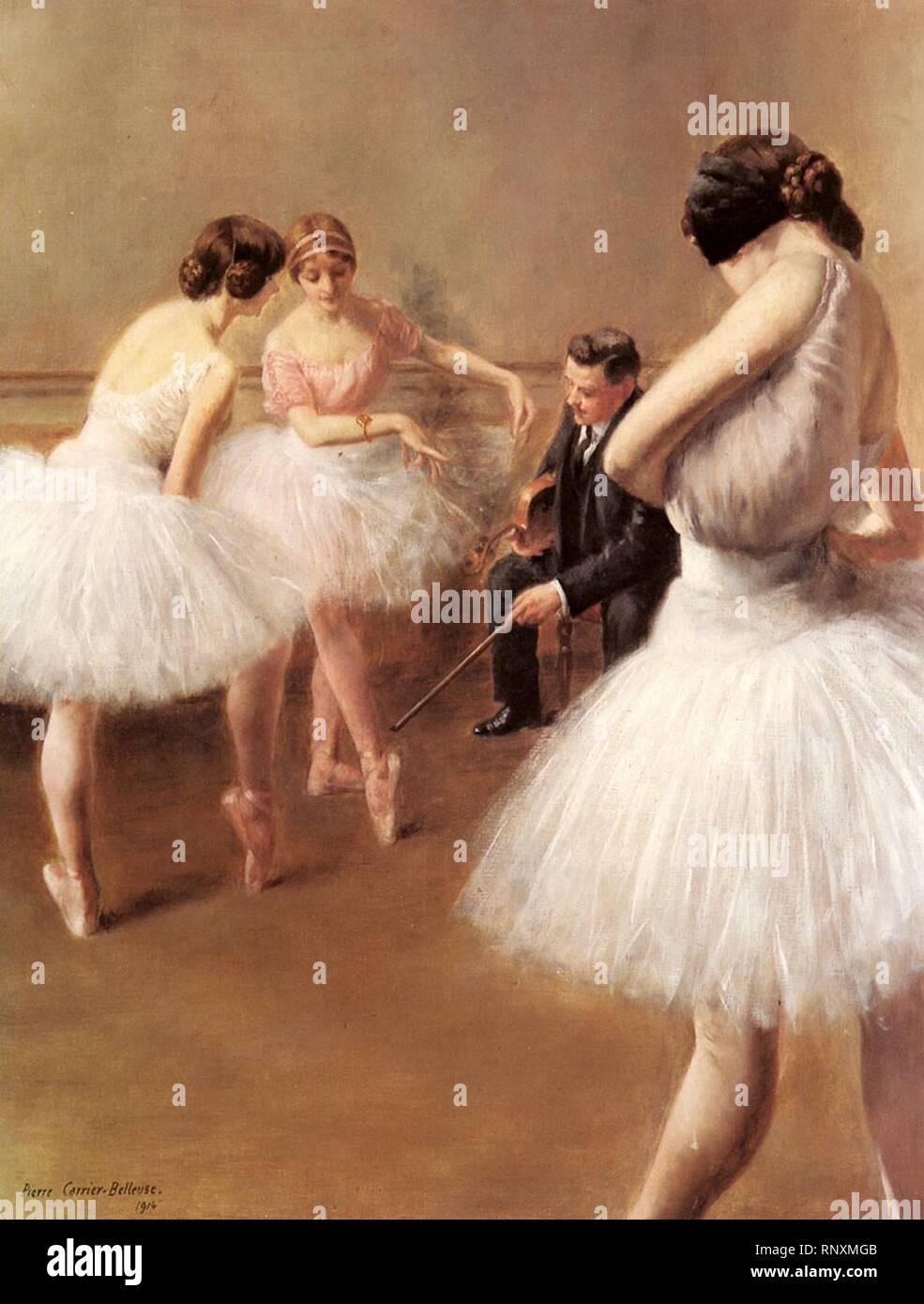 Carrier Belleuse Pierre The Ballet Lesson. Stock Photo