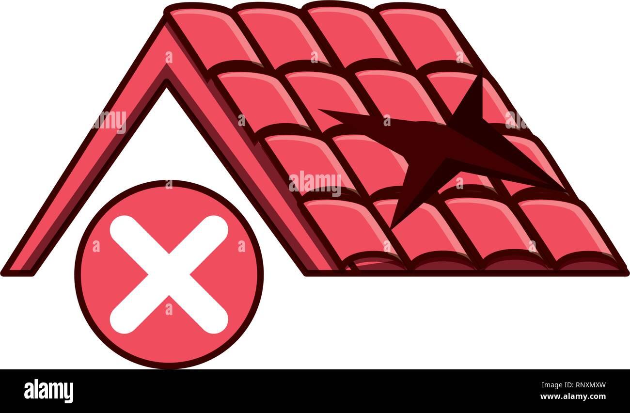 Roof broken isolated icon vector illustration design stock vector