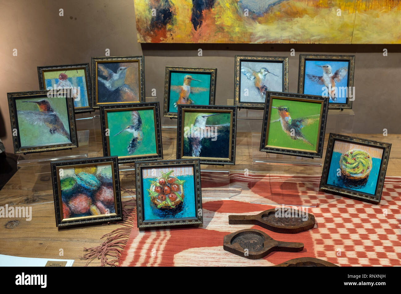 paintings by Carol Tippit Woolworth at the Smilow-Mathieson Gallery - Stock Image