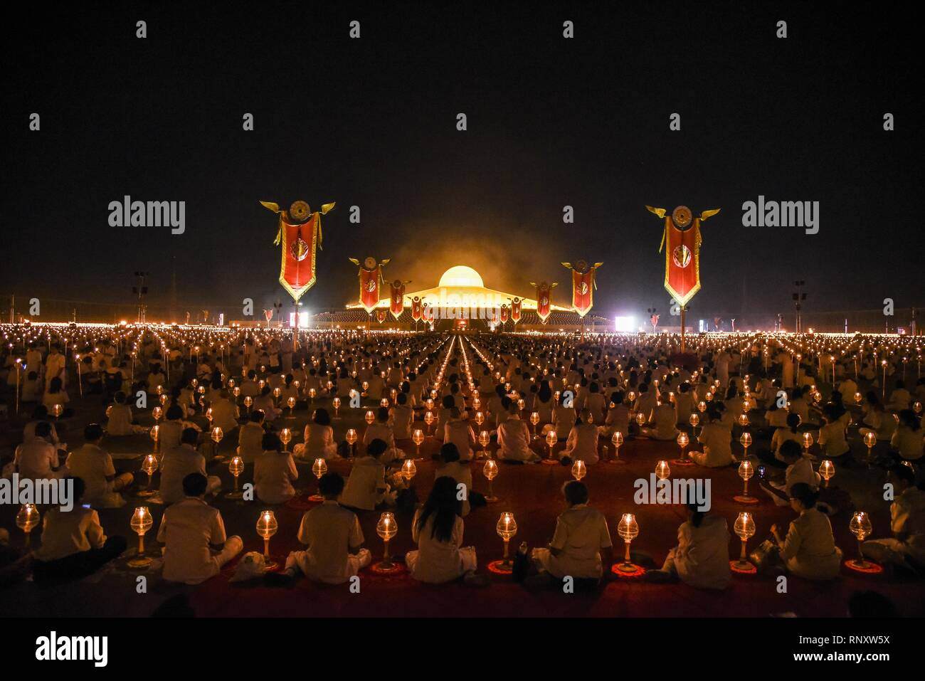 Thailand 19th Feb 2019 Buddhist Monks Hold Candles As They