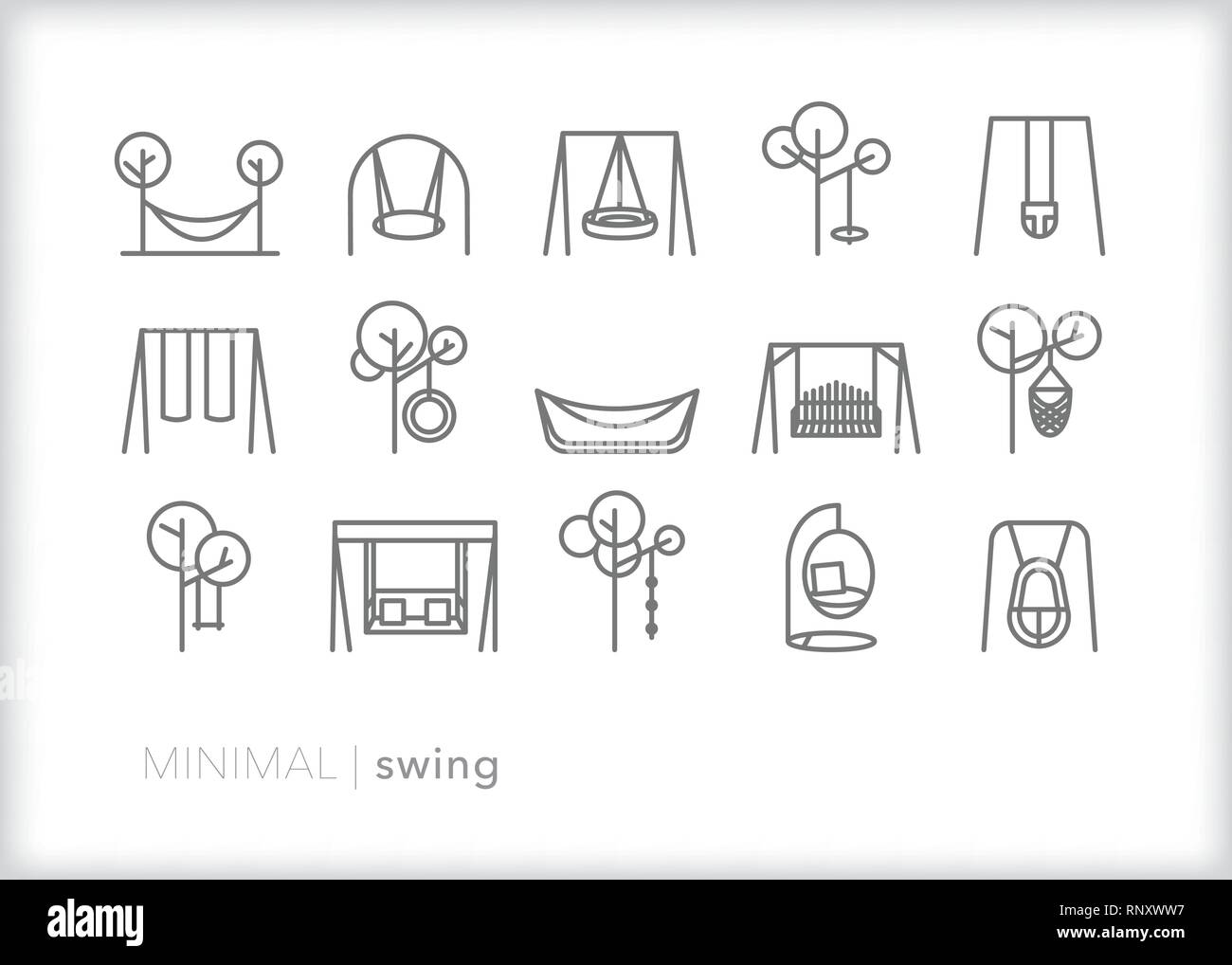 Set of 15 swing line icons for relaxing on a summer day outside including porch swing, tire swing, park swing, playground swing, baby swing, swing set - Stock Vector
