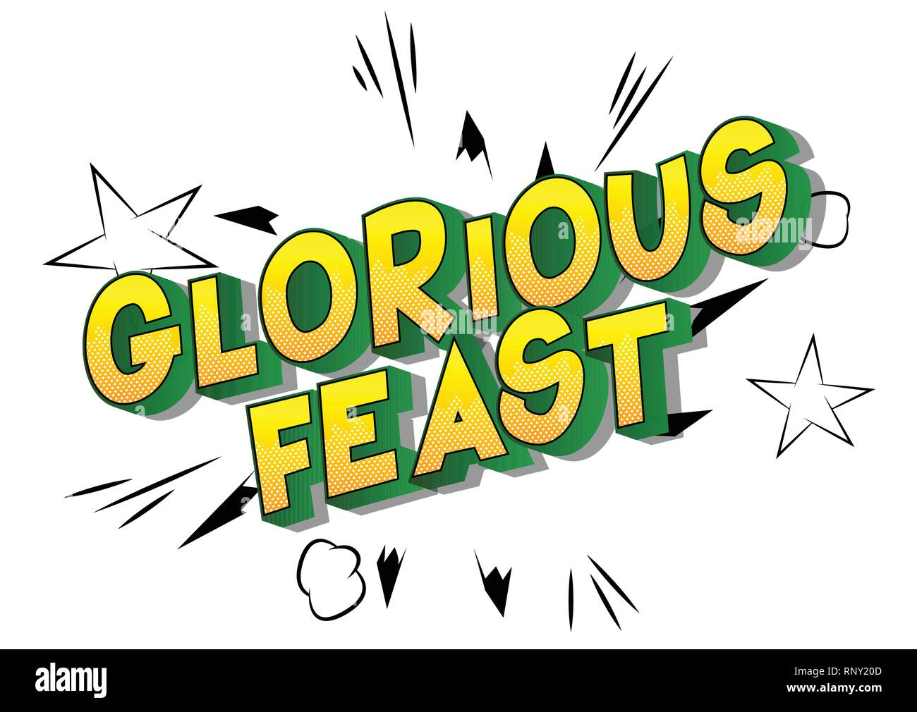 Glorious Feast - Vector illustrated comic book style phrase on abstract background. - Stock Image