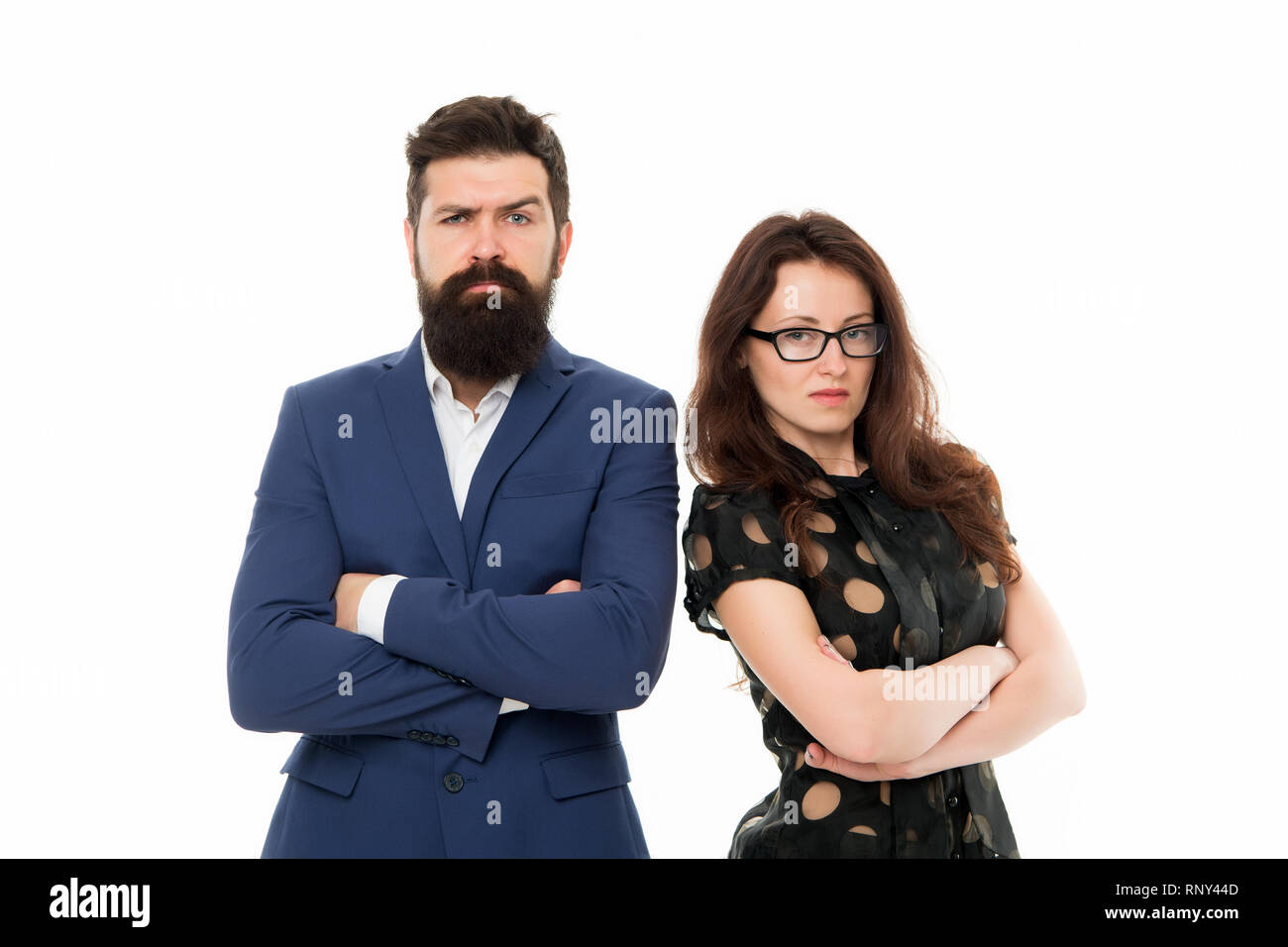 Couple colleagues man with beard and pretty woman on white background. Business partners leadership and cooperation balance. Office job and business. Business concept. Nothing personal just business. - Stock Image