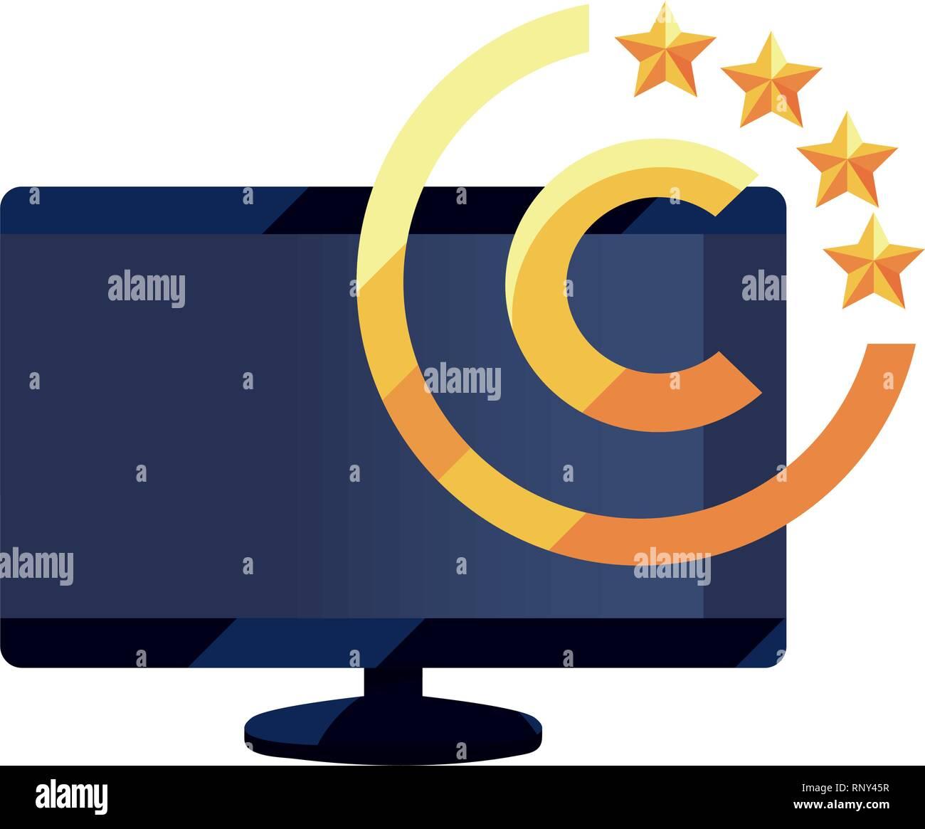computer copyright intellectual symbol vector illustration - Stock Image