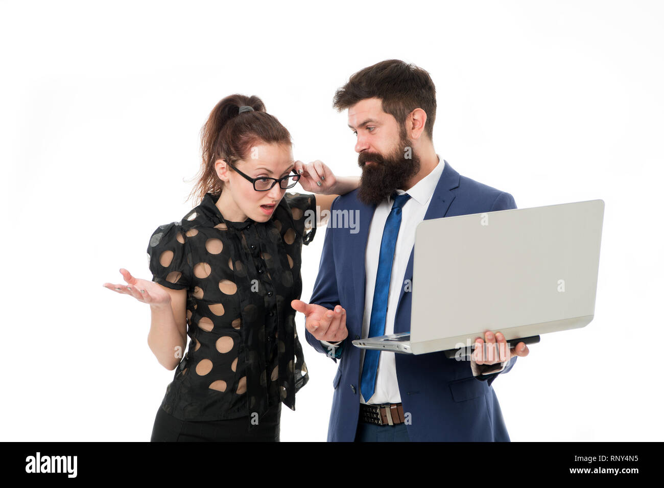 Supervisor concept. Couple working using laptop. Business lady check what is done. Outrageous result. Lady boss unsatisfied with business indicators. Manager show result. Report business result. - Stock Image