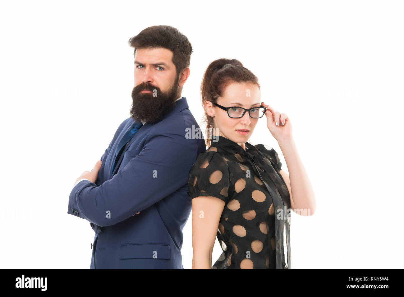 Business partners leadership and cooperation balance. Office job and business. Business concept. Nothing personal just business. Couple colleagues man with beard and pretty woman on white background. - Stock Image