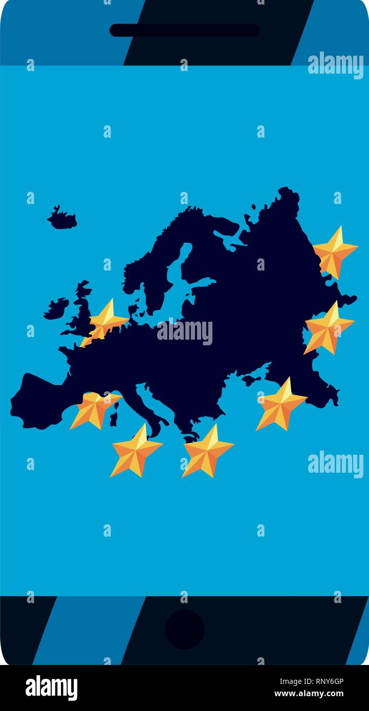 european cellphone copyright protection of intellectual vector illustration - Stock Image