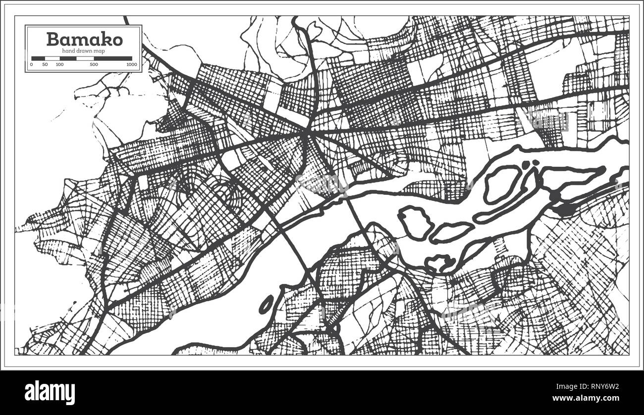 Bamako Mali City Map in Retro Style. Outline Map. Vector Illustration. Stock Vector