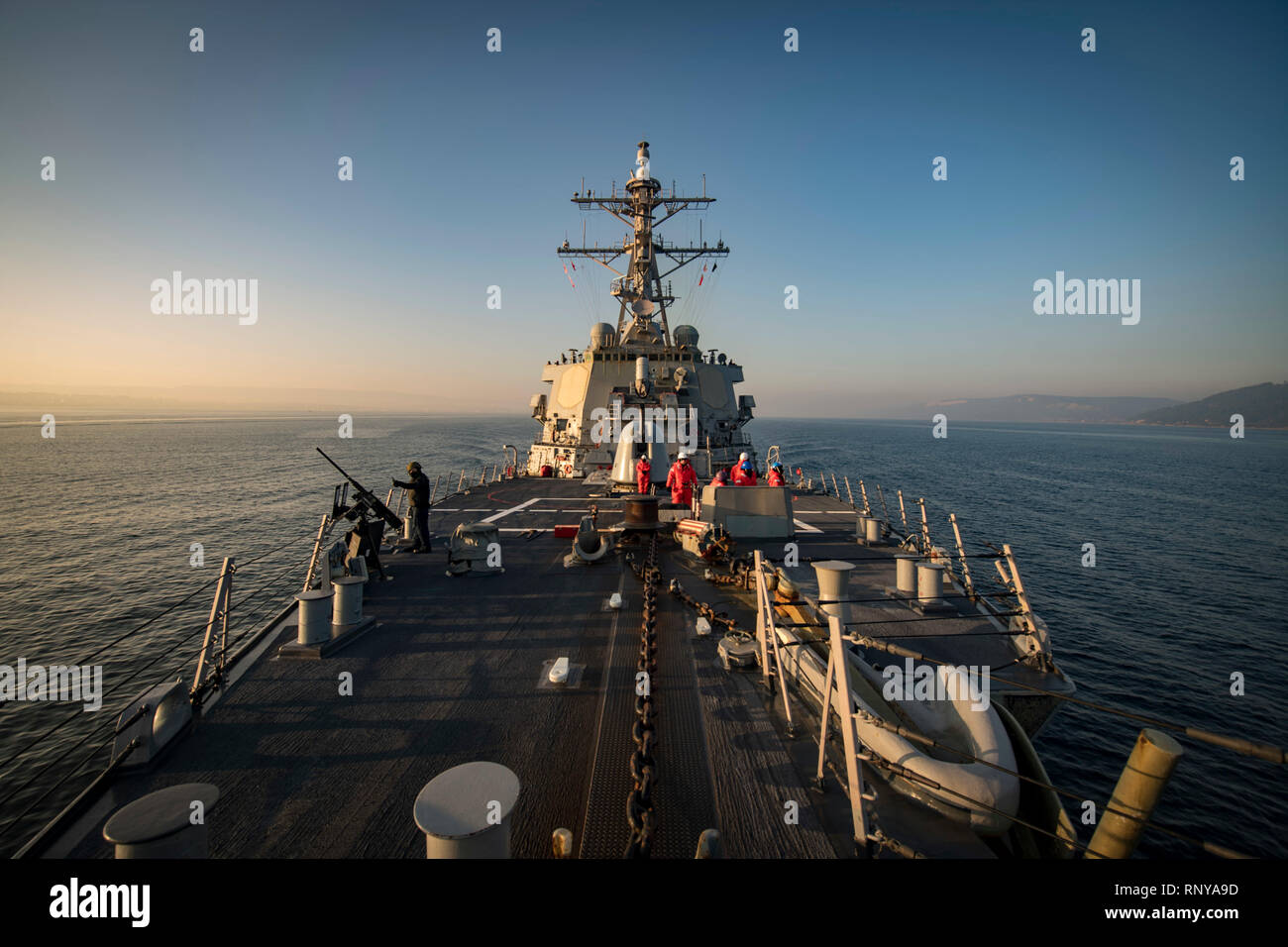 190219-N-JI086-032 DARDANELLES STRAIT (Feb. 19, 2019) The Arleigh Burke-class guided-missile destroyer USS Donald Cook (DDG 75) transits the Dardanelles Strait, Feb. 19, 2019. Donald Cook, forward-deployed to Rota, Spain, is on its eighth patrol in the U.S. 6th Fleet area of operations in support of U.S. national security interests in Europe and Africa. (U.S. Navy photo by Mass Communication Specialist 2nd Class Ford Williams/Released) - Stock Image