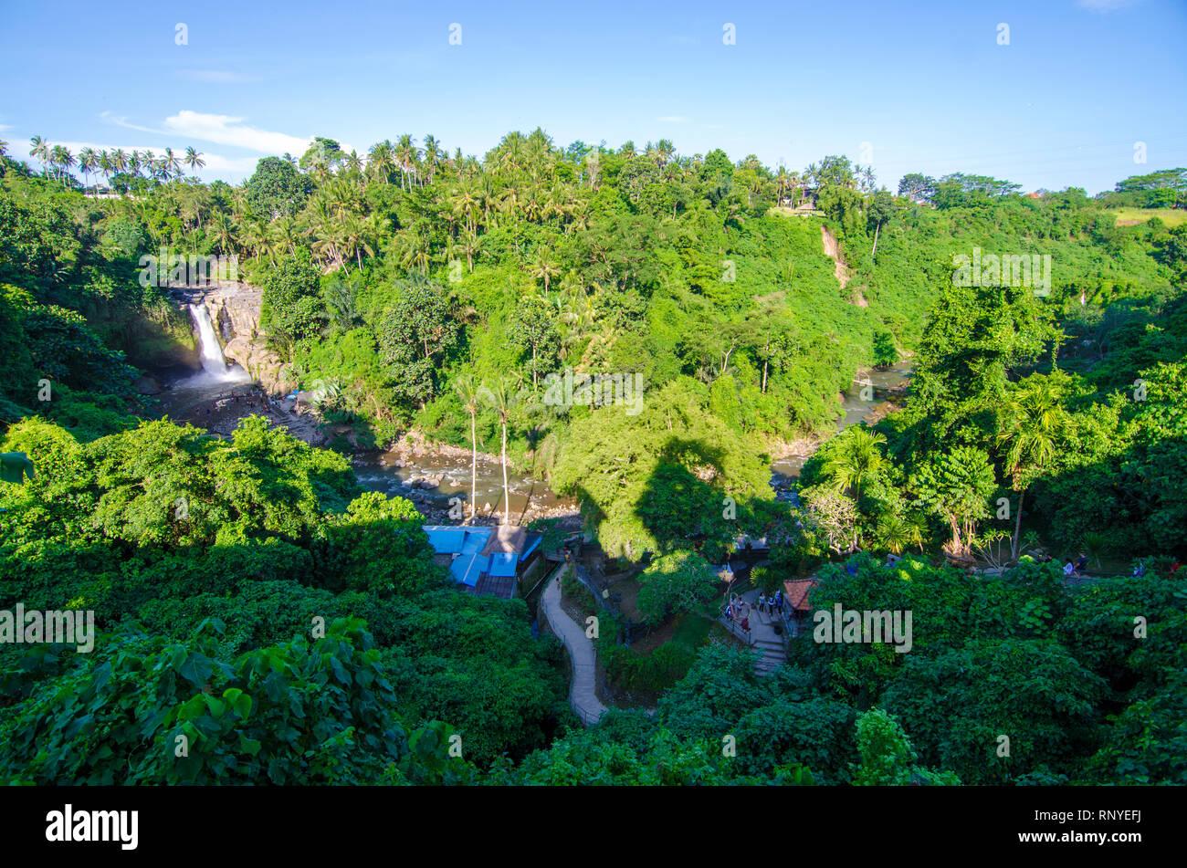 Tegenungan Waterfall From Hill With Blue Skies Above Kemenuh Village Sukawati Gianyar Bali Indonesia Stock Photo Alamy