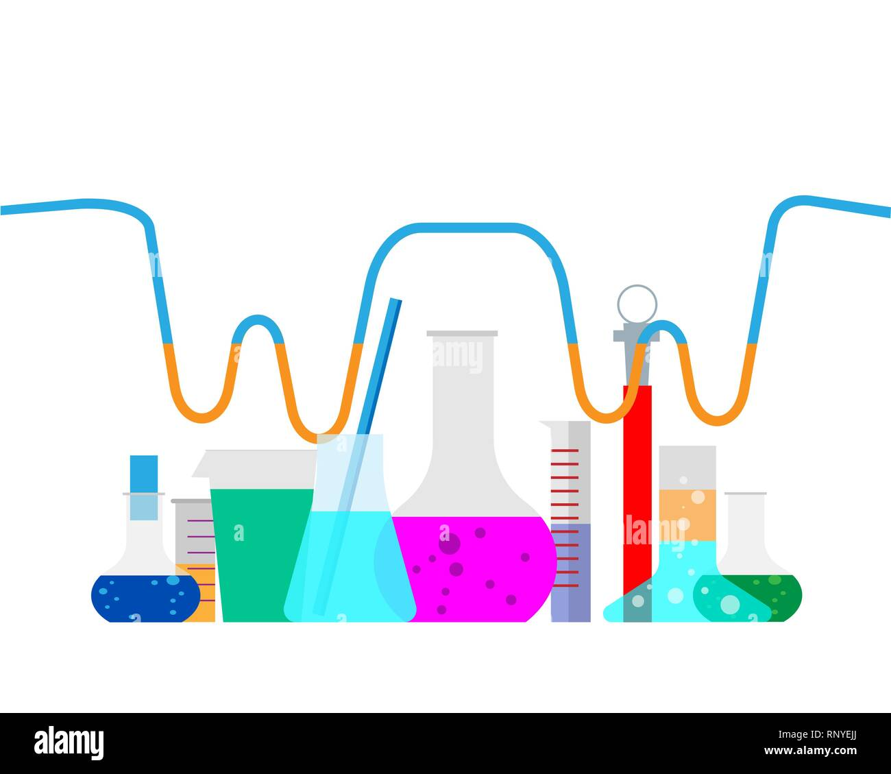 Vector illustration. Laboratory. Chemical research. Flat study background. Creative process. Stock Vector