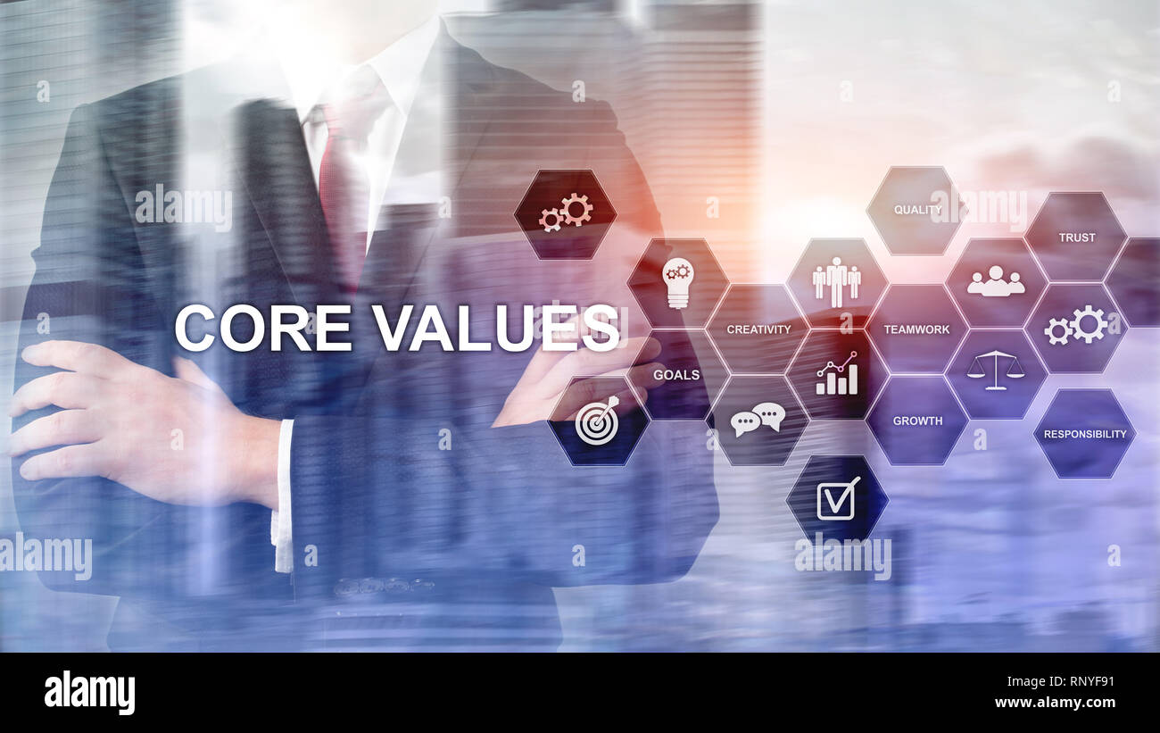 Core values concept on virtual screen. Business and finance solutions - Stock Image