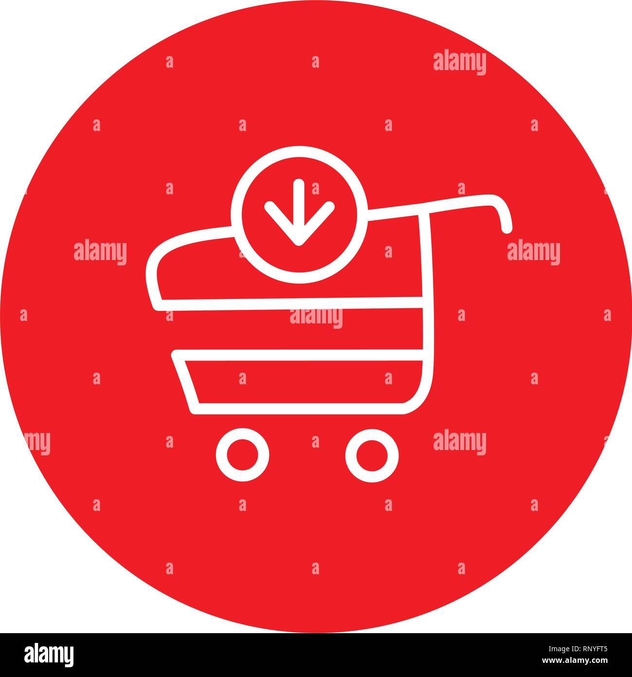 Add Item Shopping Cart Ecommerce Outline Red Circle Vector Icon Illustration Graphic Design - Stock Image