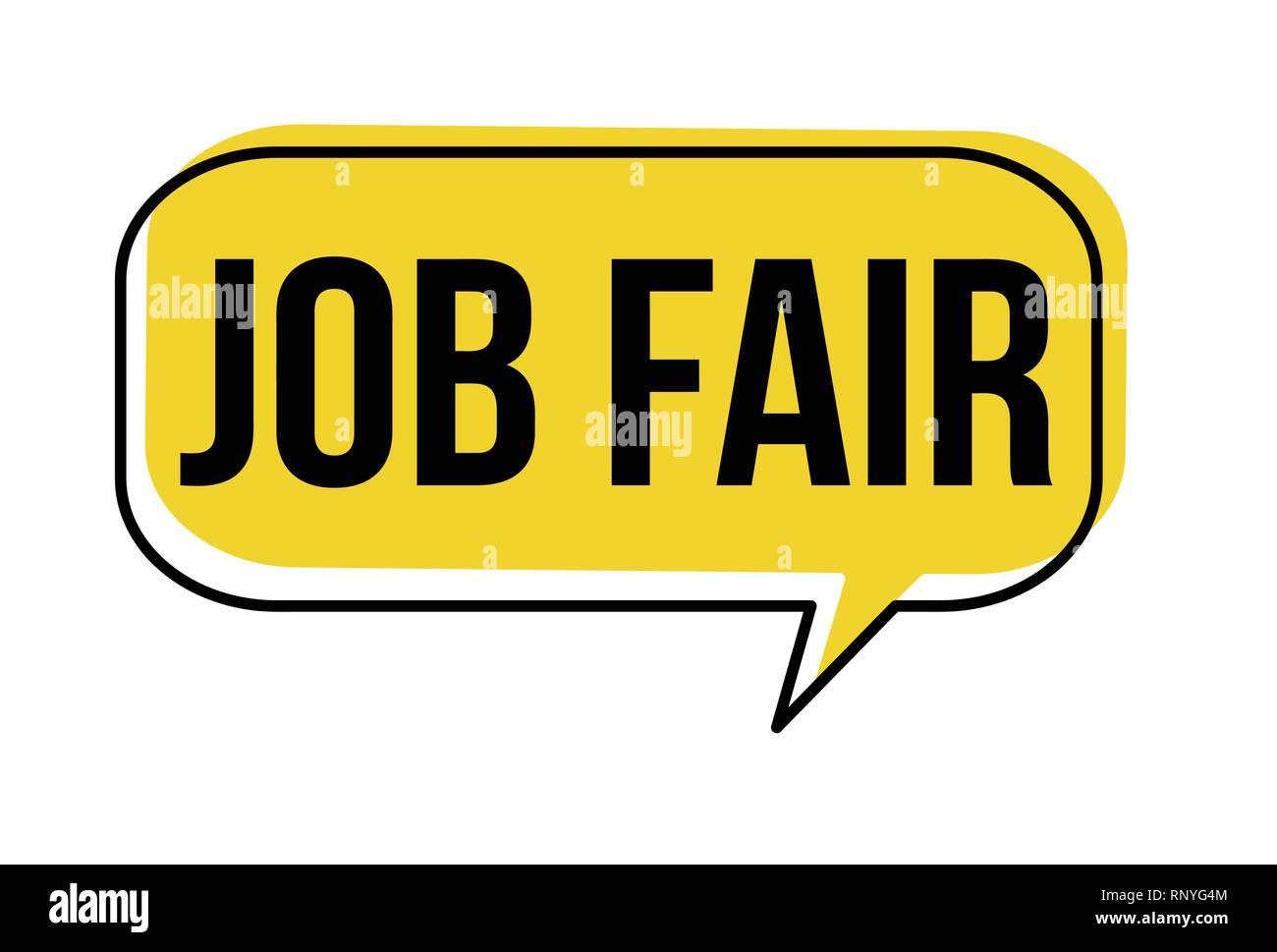 Job fair speech bubble on white background, vector illustration - Stock Vector