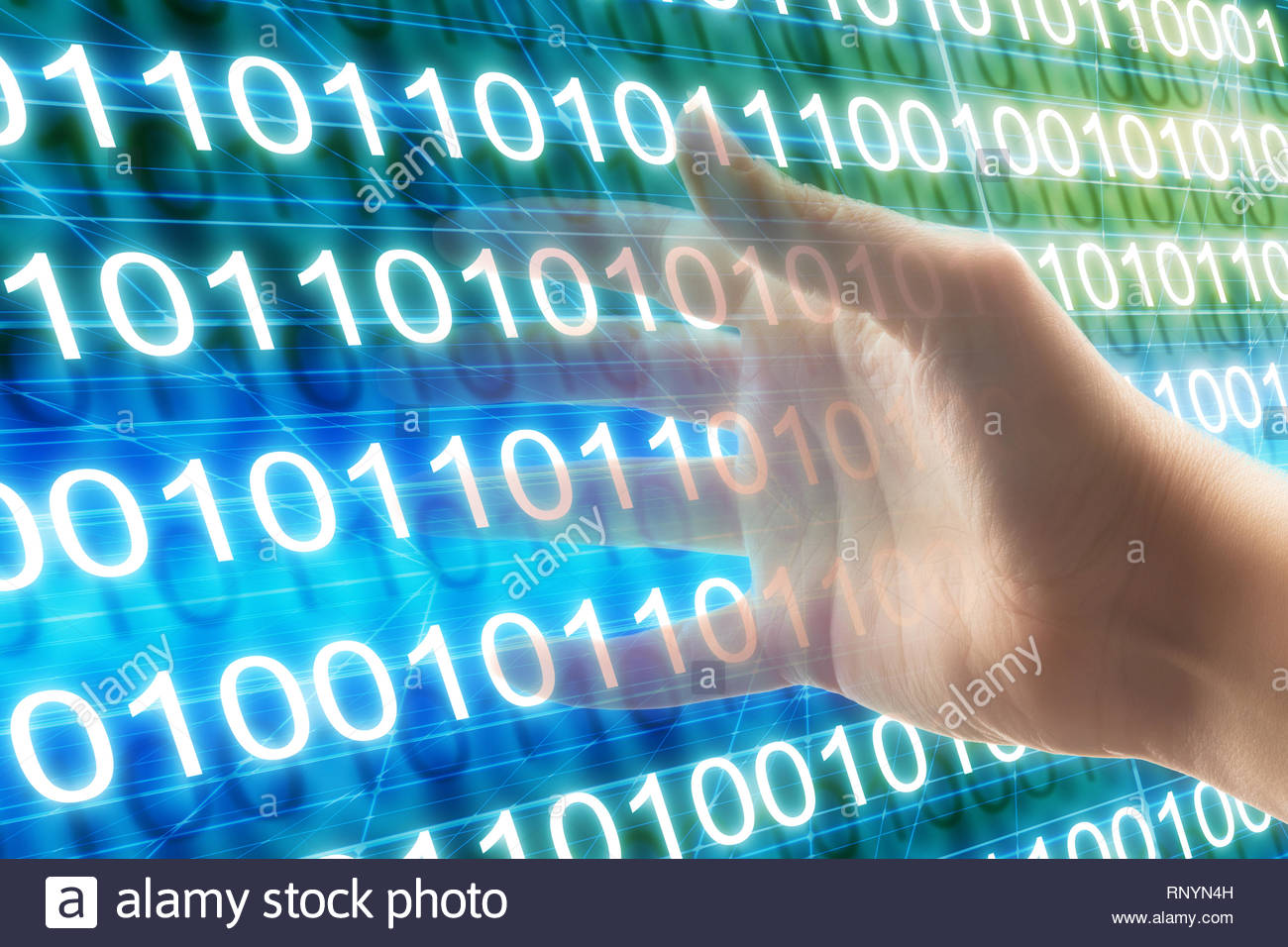 hand grabbing code, cybercrime and code breaking concept - Stock Image