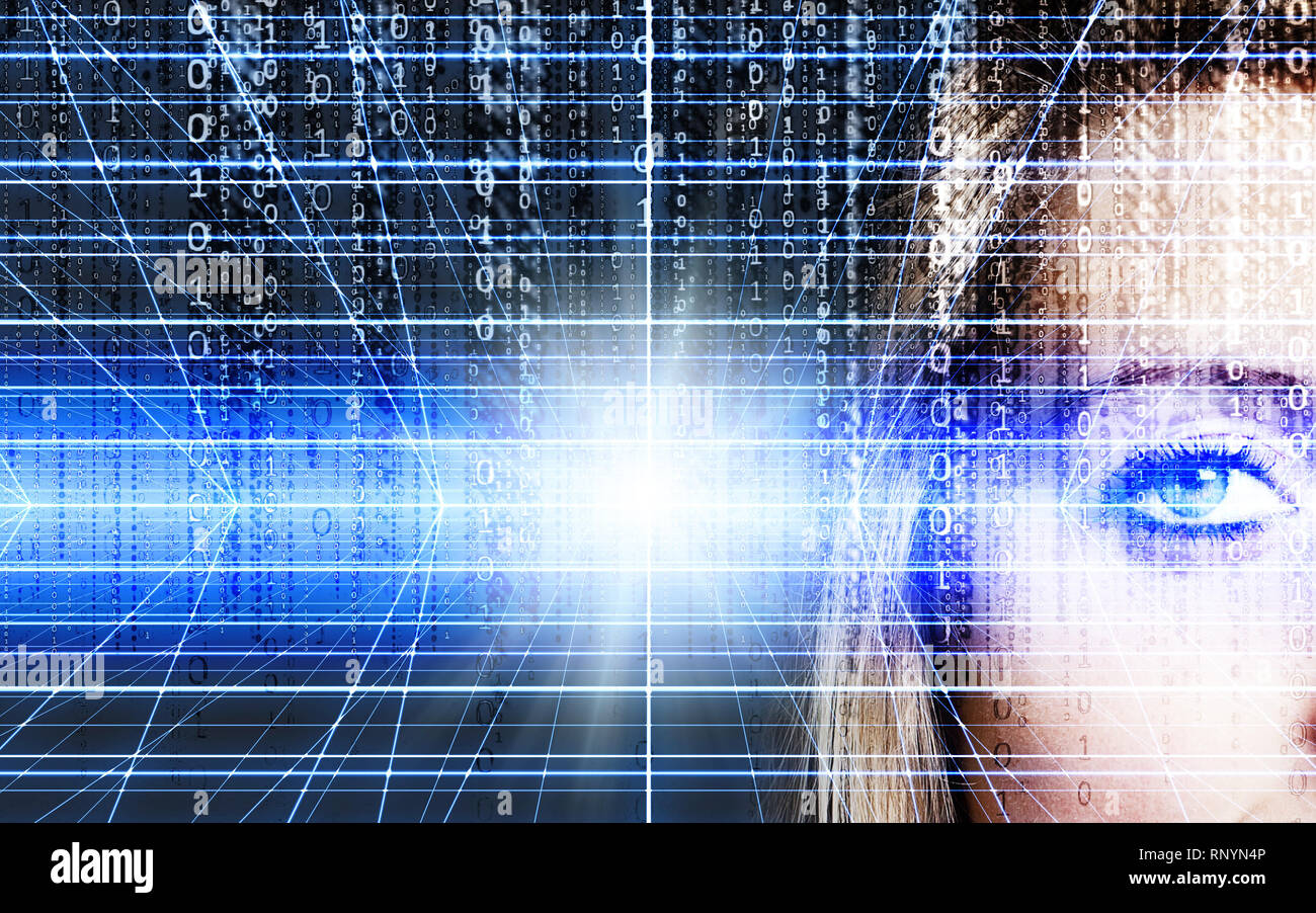 eye of a blonde woman and digital background, concept for avatars, virtual reality and technology advance in secure identification - Stock Image