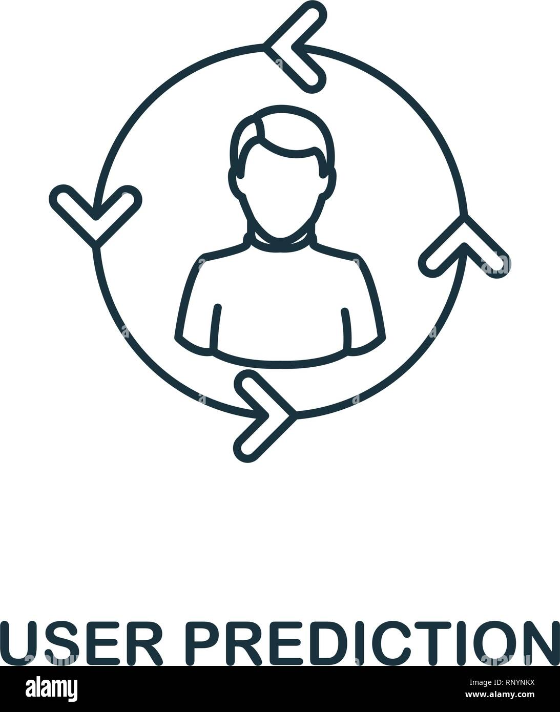 User Prediction outline icon. Thin line style from big data icons collection. Pixel perfect simple element user prediction icon for web design, apps - Stock Image