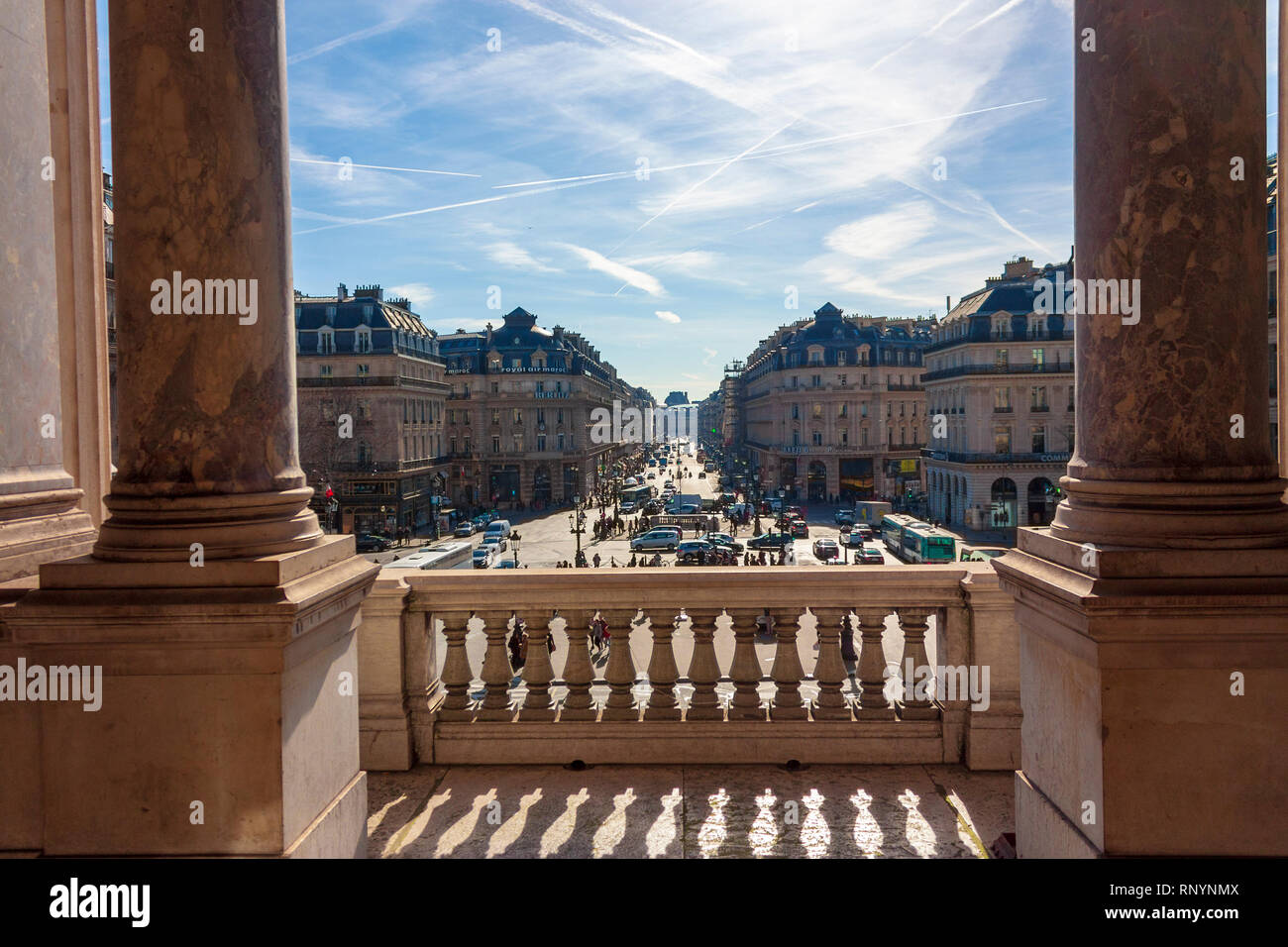 Looking out onto the Place de l'Opéra from the Palais Garnier, Paris, France - Stock Image