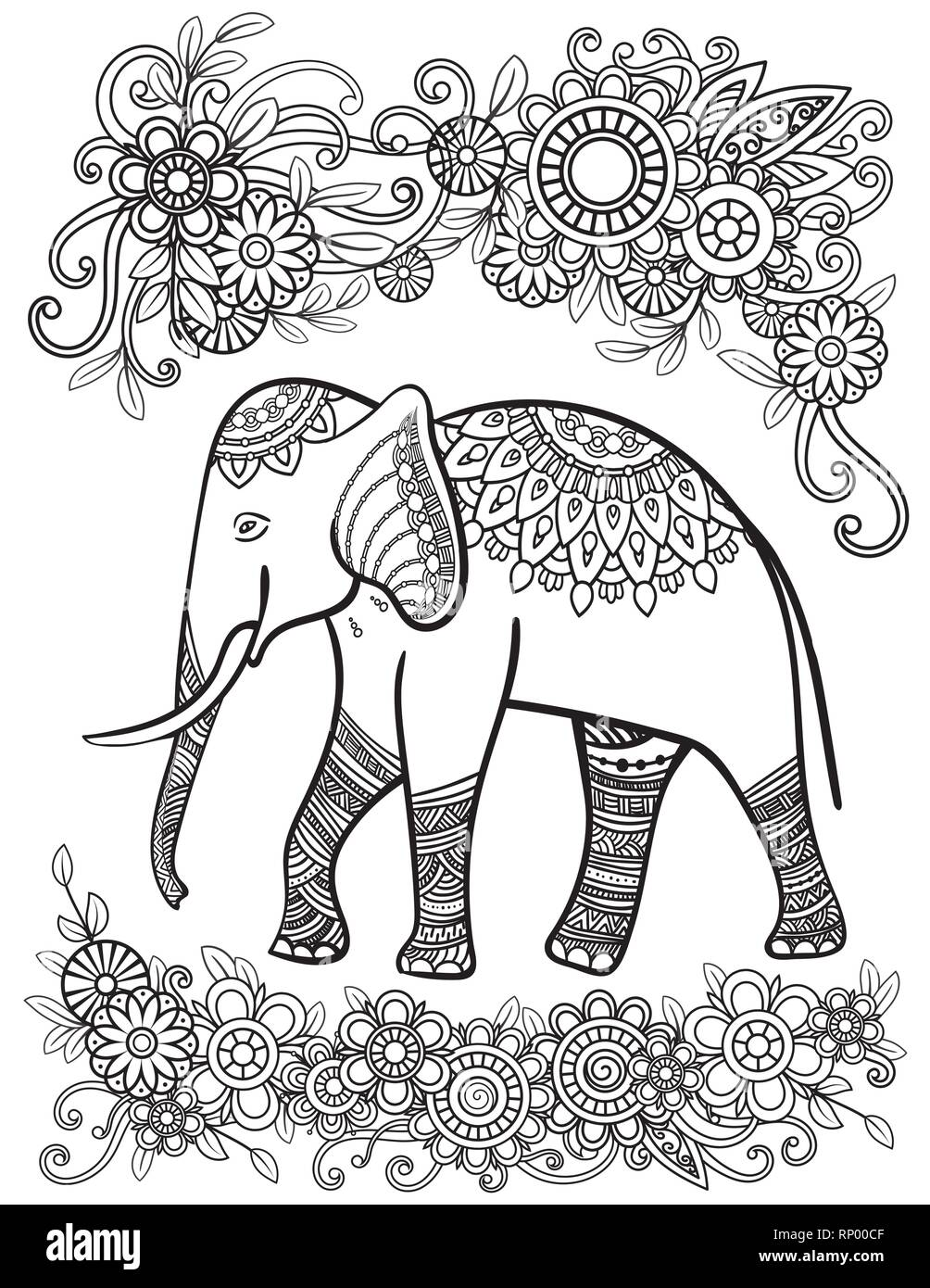 Ethnic elephant line art vector illustration. Oriental pattern with flowers and mandalas. Hand drawn vector illustration. Coloring page for adult coloring book. - Stock Vector