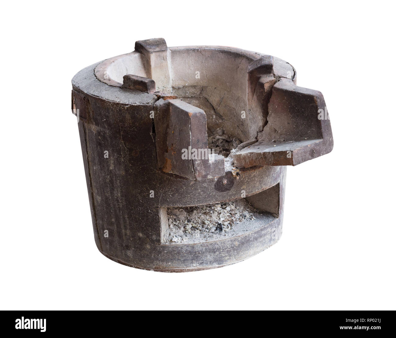 Isolate Close pottery stove ashes rural Thailand, which has been used for a long time. - Stock Image