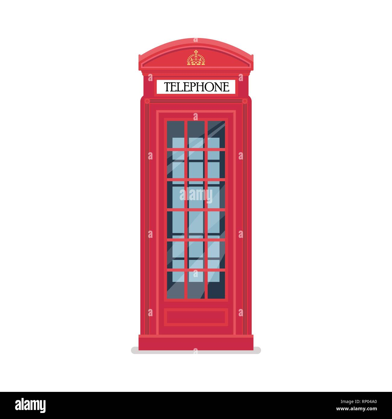 London red telephone booth. Vector illustration. - Stock Image