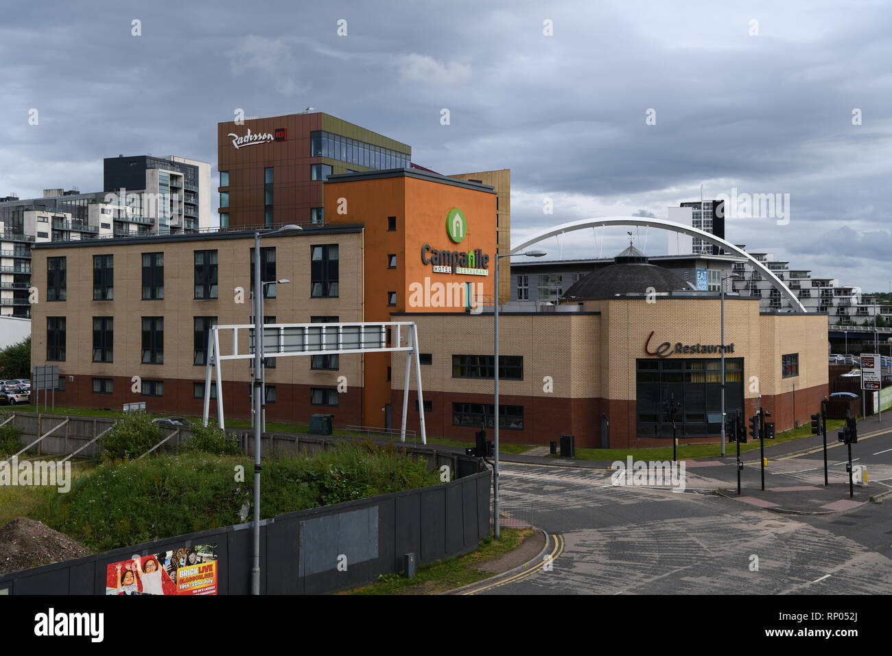 Campanile hotel and Radisson Red hotel, Glasgow Scotland UK. Situated on the River Clyde and next to the Scottish Exhibition Centre - Stock Image