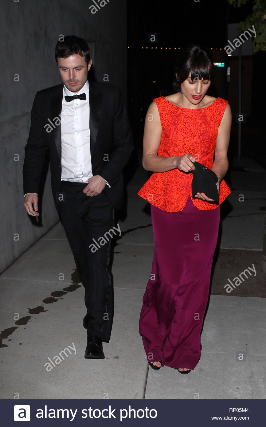 West Hollywood, CA - Casey Affleck and wife Summer Phoenix leave an after party at Craig's restaurant in West Hollywood.  Casey had on a black tux dressed for the evening and his wife Summer a purple dress with a bright red sleeveless top.  AKM-GSI          February 24, 2013  To License These Photos, Please Contact :  Steve Ginsburg (310) 505-8447 (323) 4239397 steve@ginsburgspalyinc.com sales@ginsburgspalyinc.com  or  Keith Stockwell (310) 261-8649 (323) 325-8055  keith@ginsburgspalyinc.com ginsburgspalyinc@gmail.com - Stock Image