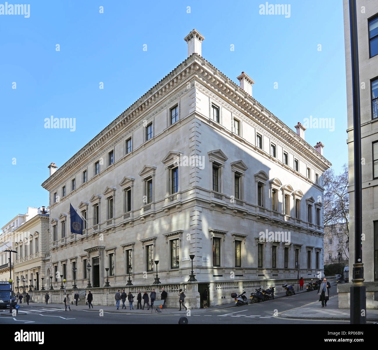 The Reform Club, an exclusive private menbers club on Pall Mall in London, UK. Building designed by Sir Charles Barry. - Stock Image