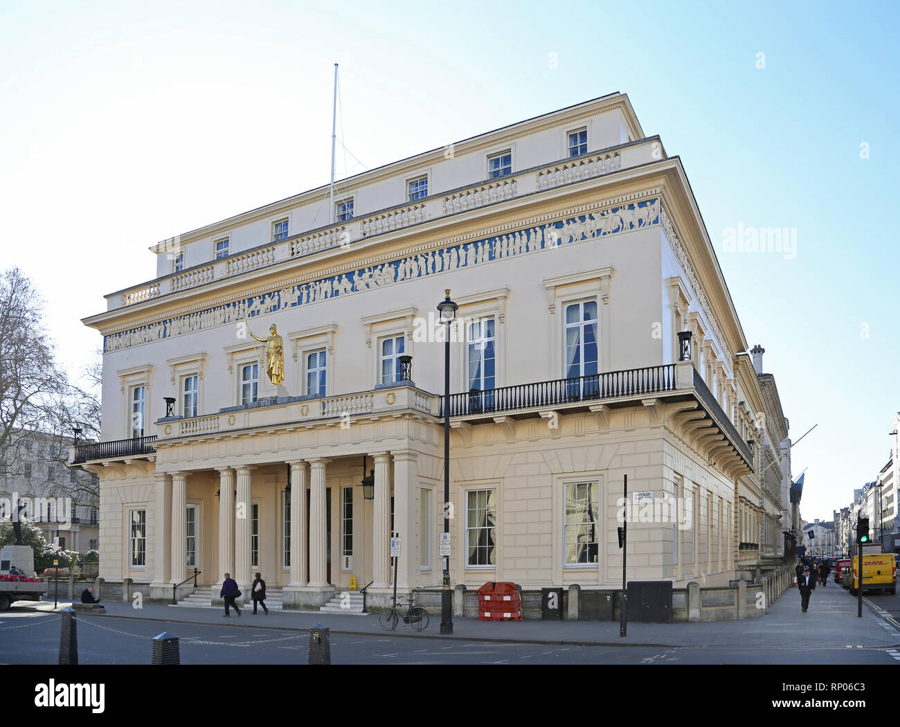 The Atheneum, an exclusive, private members club on Pall Mall, London, UK.Building designed by Decimus Burton - Stock Image
