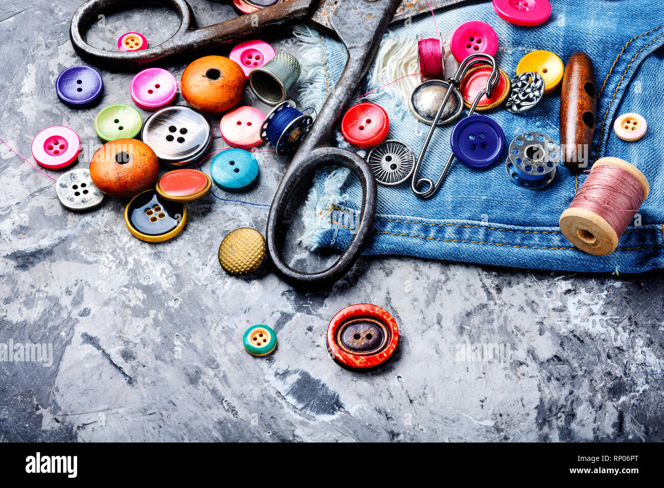 Sewing threads, fabric and buttons Sewing kit Sewing