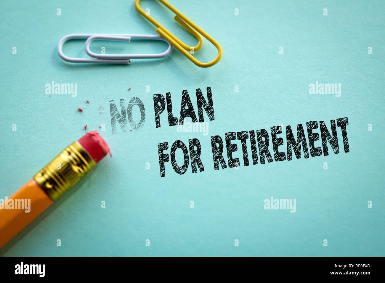 Making no in to plan for retirement by eraser - Stock Image