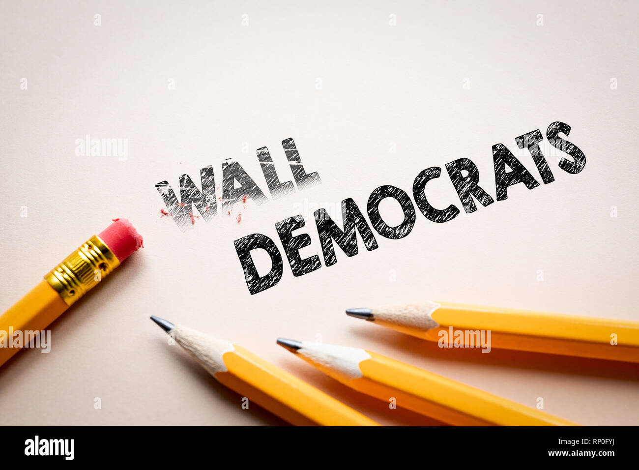 Making Wall in to Democrats by eraser Stock Photo