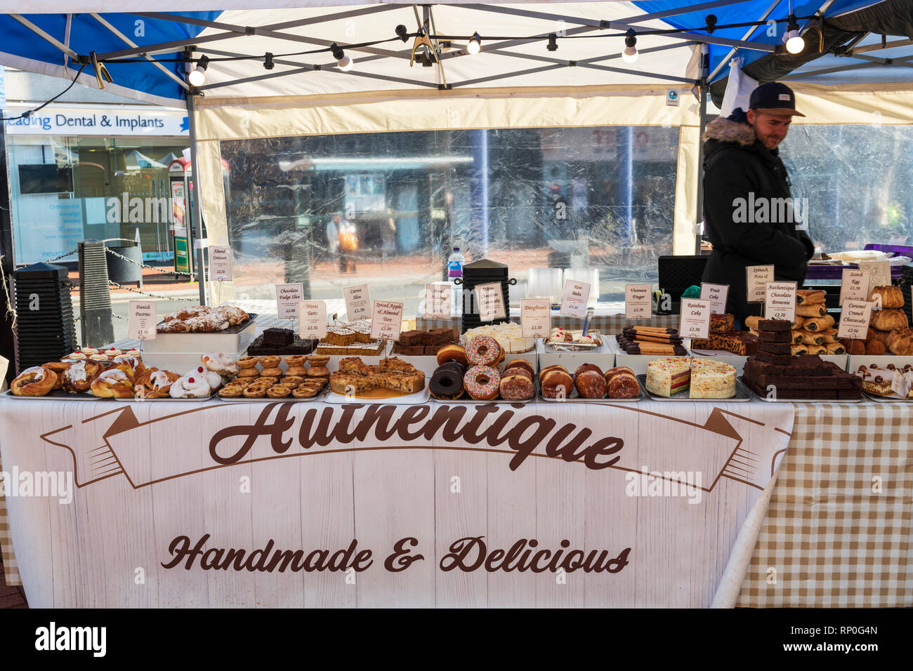 Street food market in Reading, UK - Stock Image