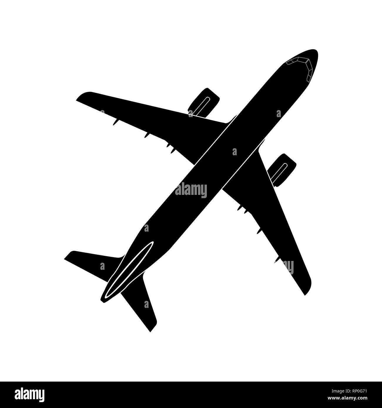 simple image of turboprop jet aircraft, air transport - Stock Image