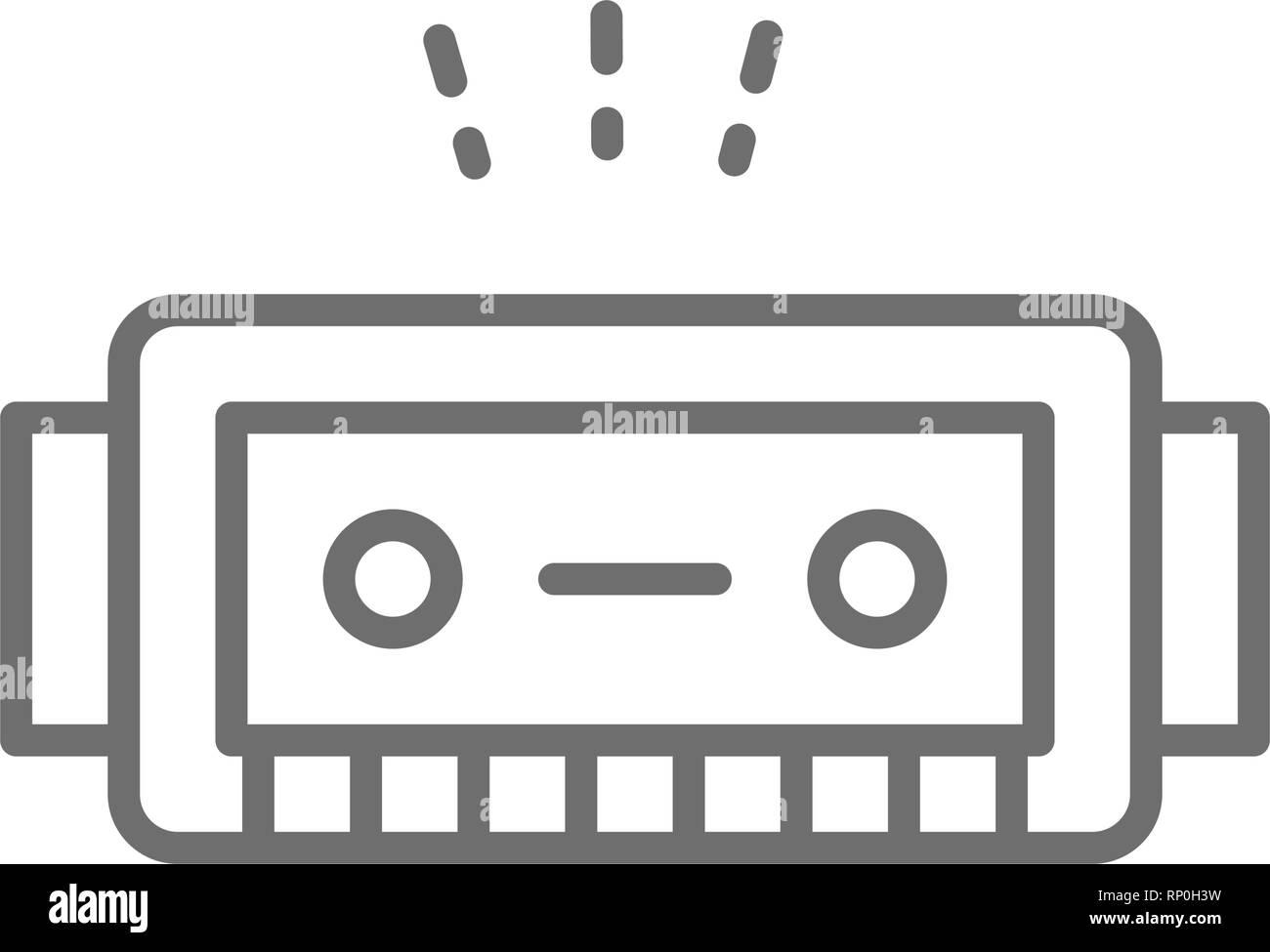 Harmonica, music instrument line icon. - Stock Vector