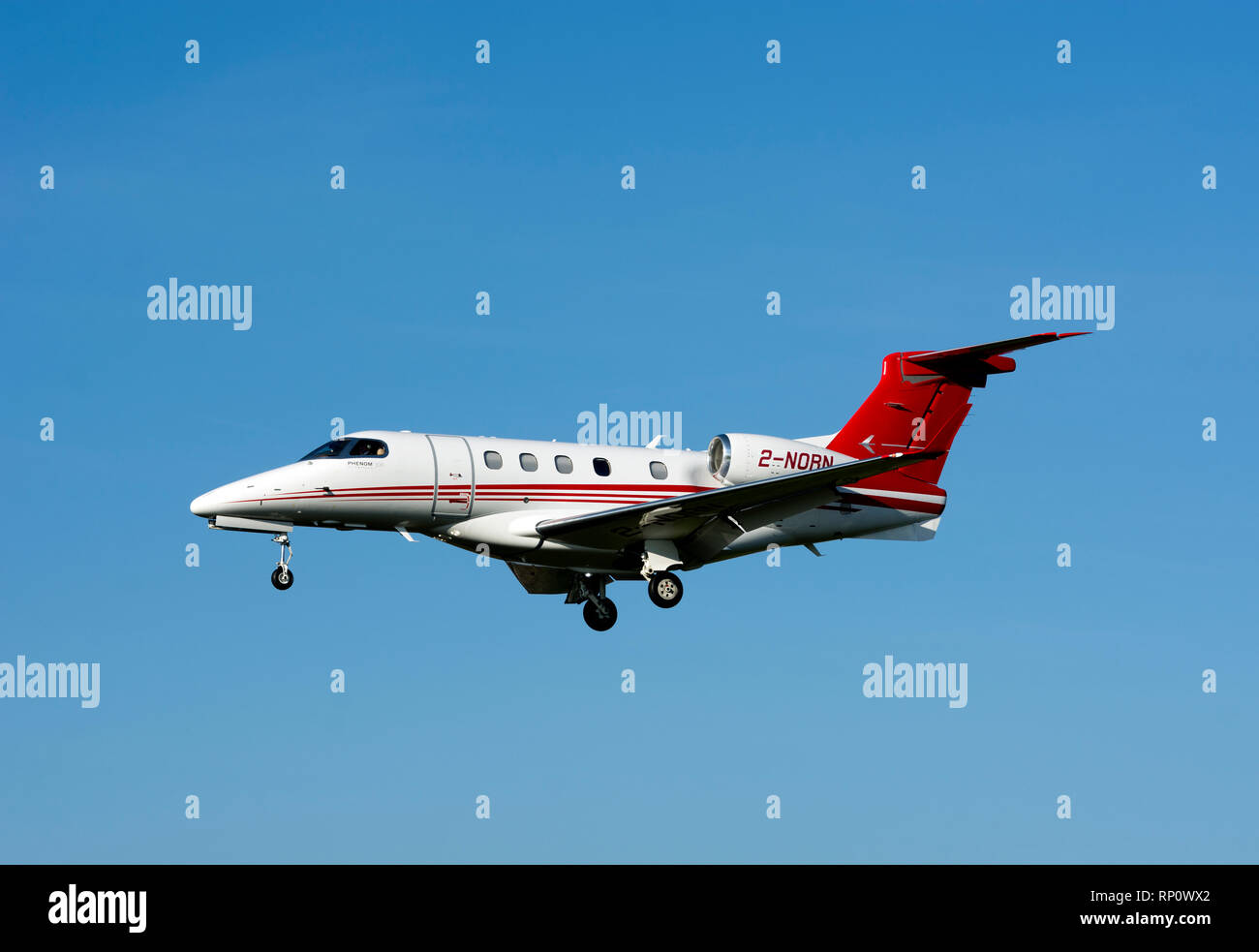 Embraer Phenom 300 at Wellesbourne Airfield, Warwickshire, UK (2-NORN) - Stock Image