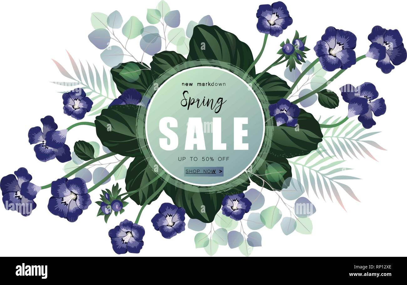 Spring sale banner with wild flowers and eucalyptus. - Stock Vector