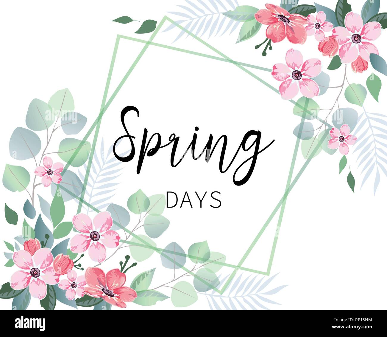 Spring sale banner with sakura flowers and eucalyptus. - Stock Vector