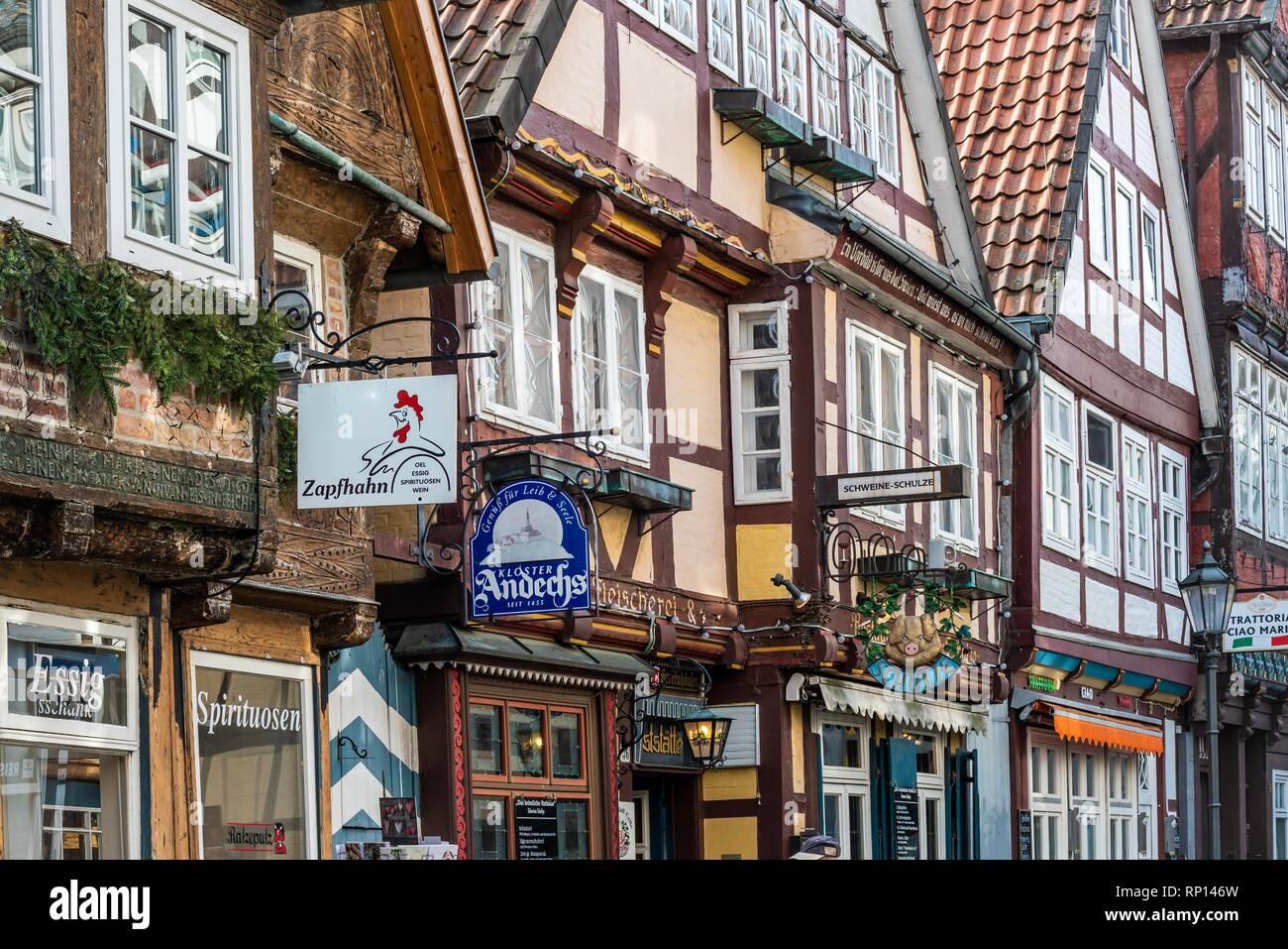 Fachwerkhäuser in der Celler Altstadt - Stock Image