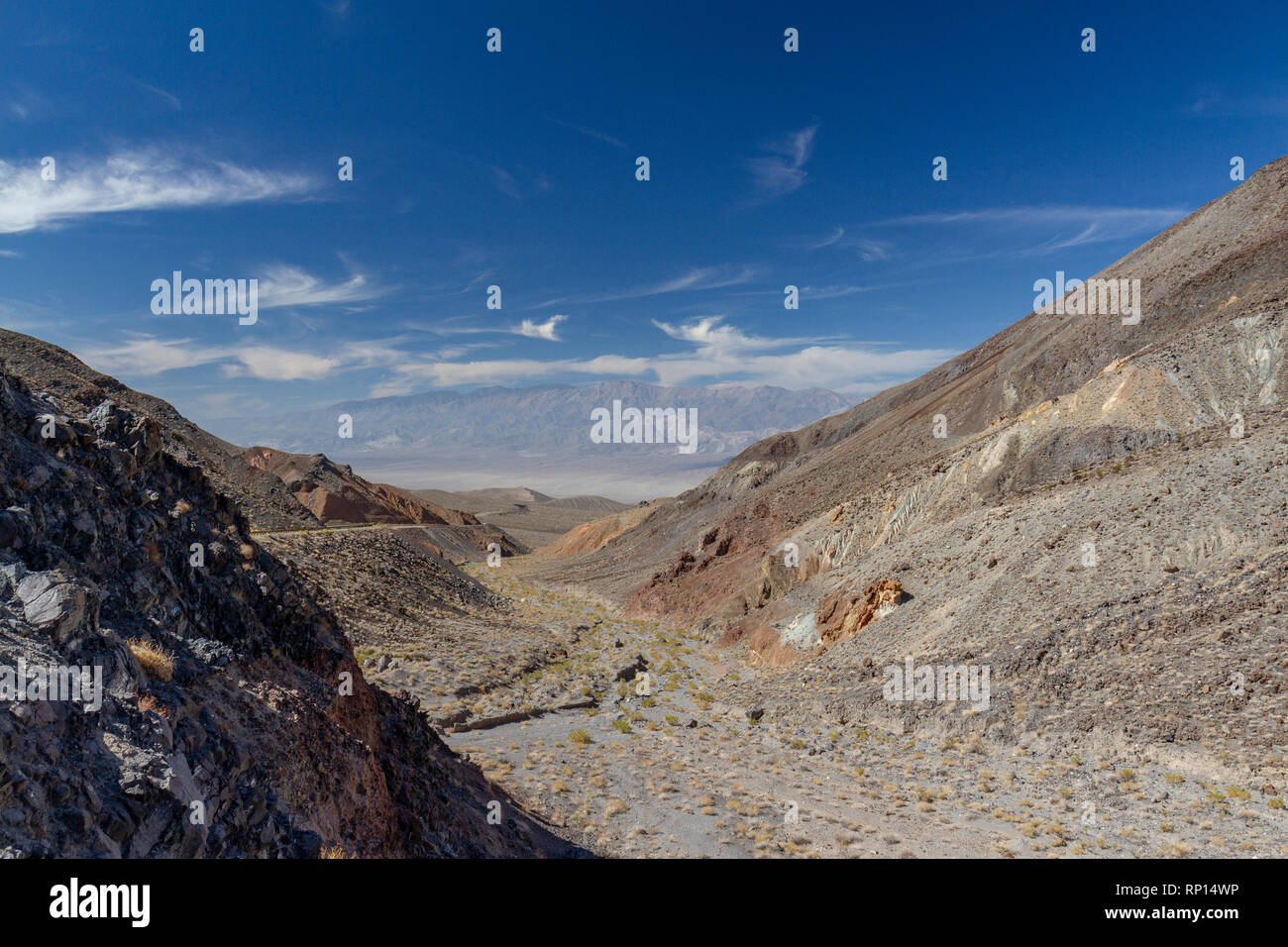 View west from Towne Pass in the direction of Panamint Springs, Death Valley National Park, California, United States. Stock Photo