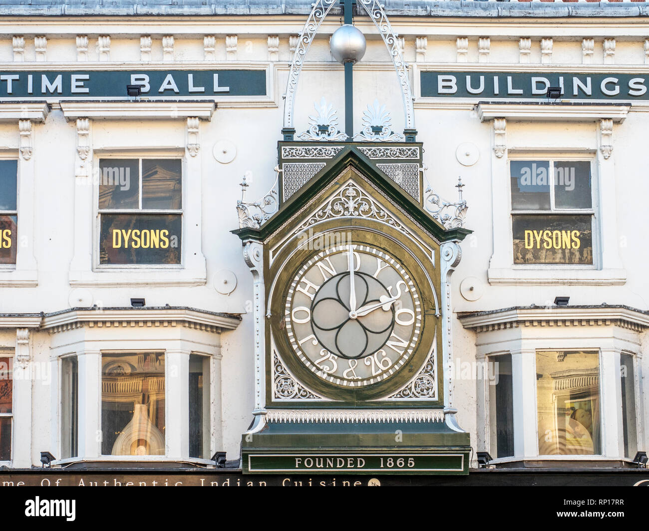 Time Ball Buildings showing John Dyson clock at 25 and 26 Briggate Leeds West Yorkshire England - Stock Image