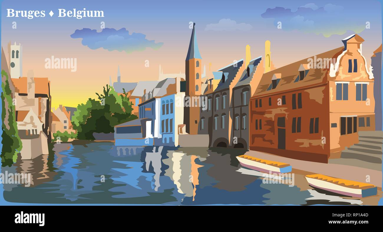 Cityscape view on Rozenhoedkaai water canal in Bruges, Belgium. International landmark of Belgium. Colorful vector illustration. - Stock Vector