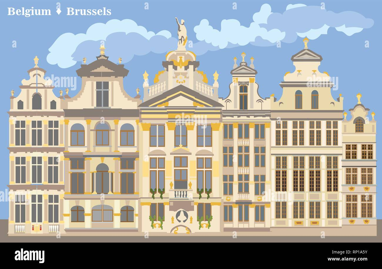 Cityscape with Grand Place in Brussels, Belgium.  International landmark of Belgium. Colorful vector illustration. - Stock Vector