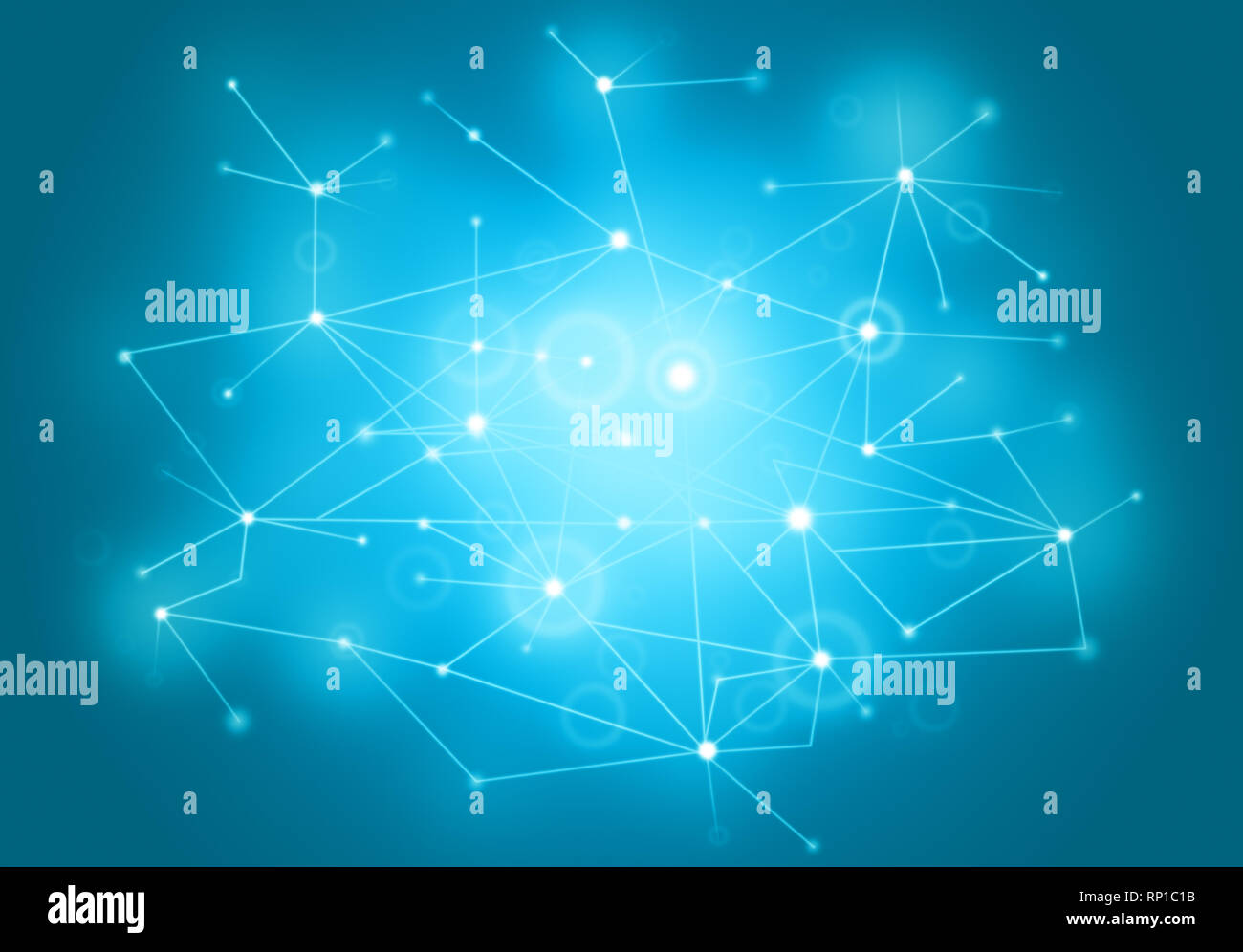 Futuristic polygonal style abstract vector network background for business, technology or science presentation. Molecular structure,  cybernetic dots. - Stock Image