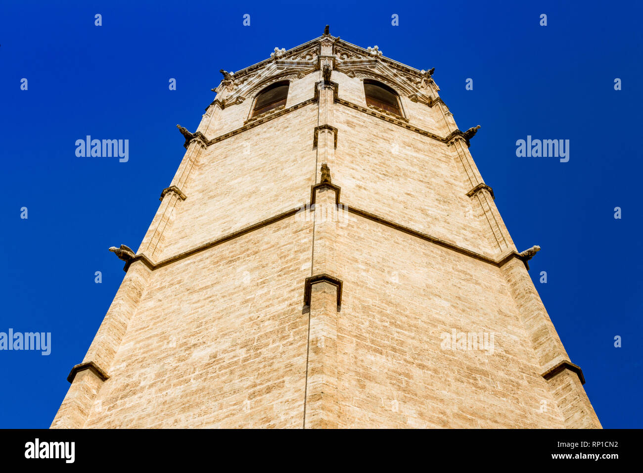 The belfry, known as Micalet, of the Saint Mary's Cathedral or Valencia Cathedral in Valencia, Spain Stock Photo