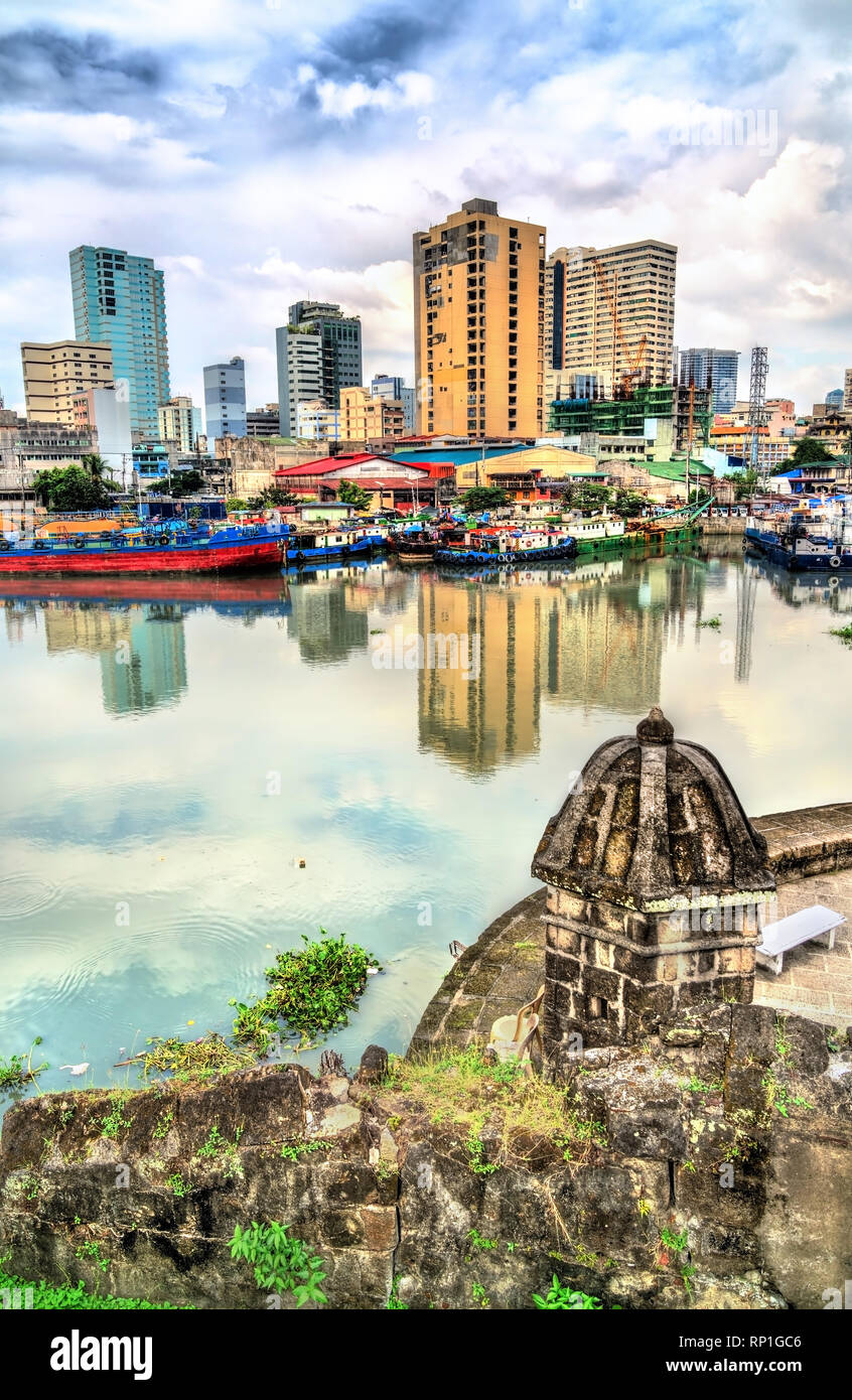 View of the Pasig River from Fort Santiago in Manila, the Philippines - Stock Image