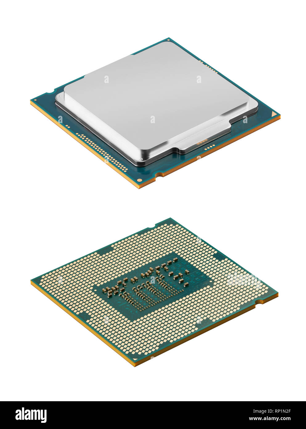 Computer processors CPU isolated on white background - Stock Image