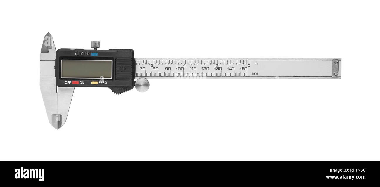 Dgital Electronic Vernier Caliper, isolated on white background - Stock Image