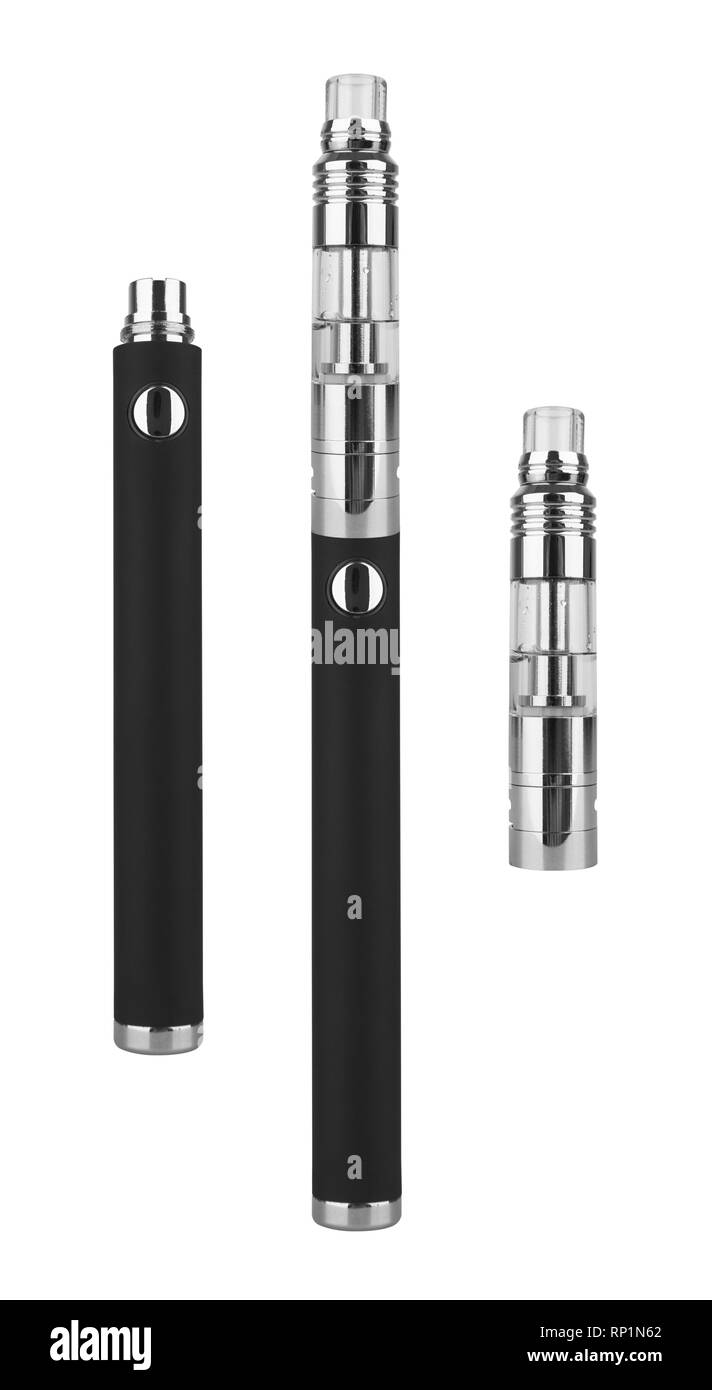 E-cigarette or vaping device isolated on white background - Stock Image